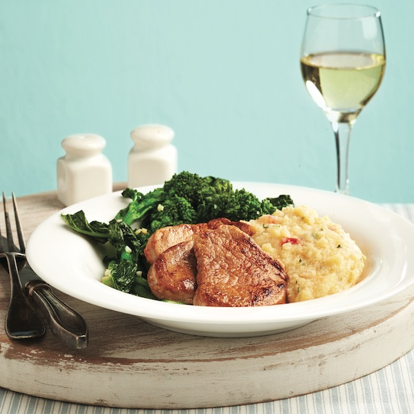 Pork tenderloin with rapini and creamy polenta