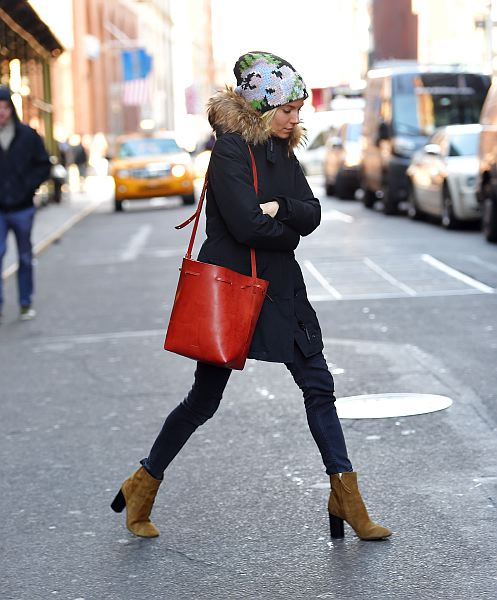 MANHATTAN, NY - JANUARY 13, 2015: Sienna Miller and Tom Sturridge seen out in Soho after lunch at Balthazar on JANUARY 13, 2015 in New York City, New York