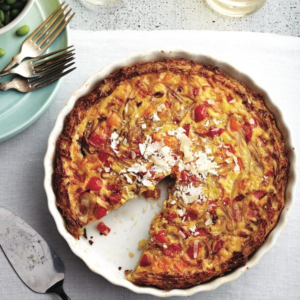 Onion quiche in a potato crust