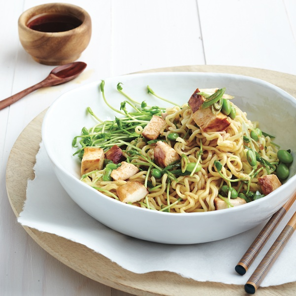 Spring chicken and pea sprout ramen