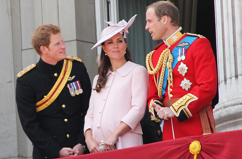 Prince Harry Kate Middleton and prince William on the balcony at Buckingham Palace.