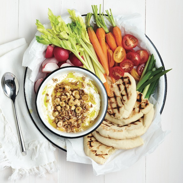 Labneh with dukkah and fresh vegetables