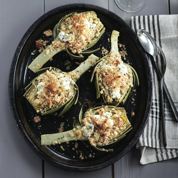 Lemony goat-cheese-stuffed artichokes
