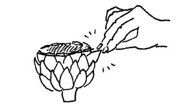 How to eat an artichoke: Once cooked, pull off a petal and dip into melted butter.