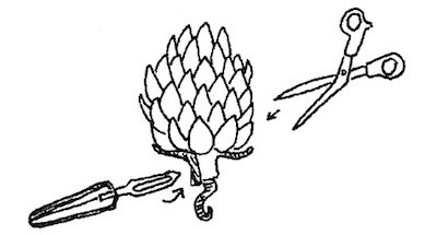 How to eat an artichoke: Snip off thorns, pull away outer leaves, peel stem.