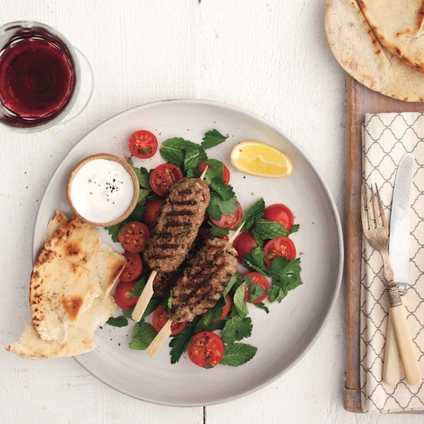 Beef kebabs with herb salad