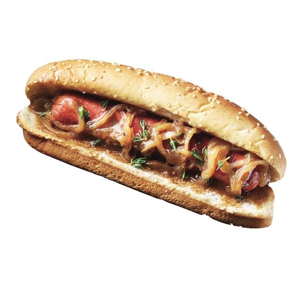 British onions and gravy hot dog