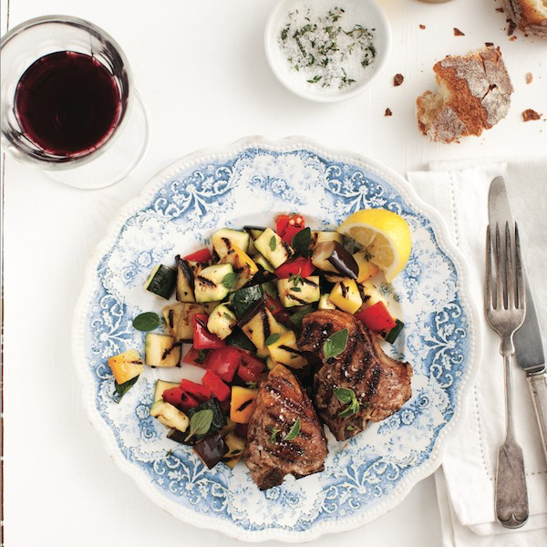 Easy dinner recipes: Lamb recipes: Grilled lamb chops with ratatouille