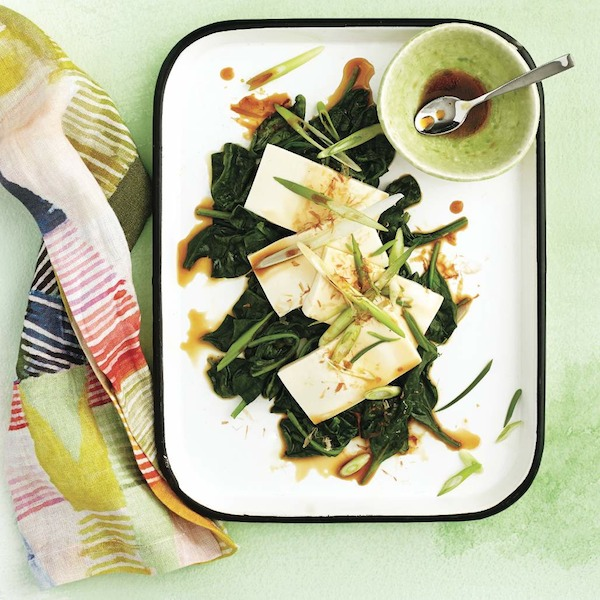 Chilled tofu with ginger-sesame spinach