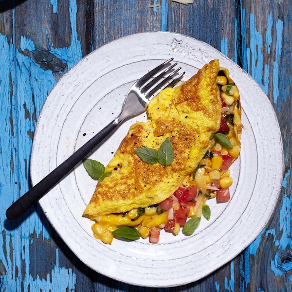 Corn, tomato and basil omelete