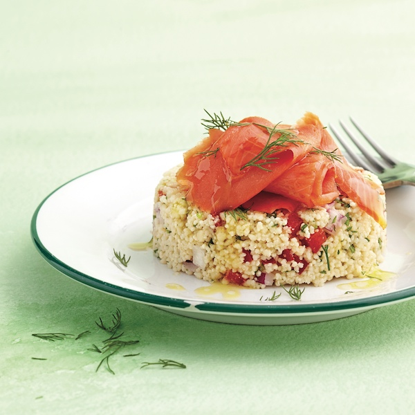 Couscous pilaf with smoked salmon