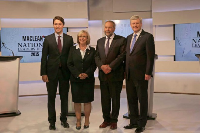 THE MACLEAN'S NATIONAL LEADERS DEBATE. (L-R) JUSTIN TRUDEAU, ELIZABETH MAY, THOMAS MULCAIR, AND STEPHEN HARPER (CREDIT: DILLAN COOLS/MACLEAN'S)