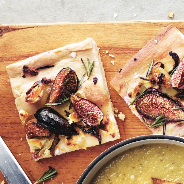 Fig, onion and roasted garlic focaccia