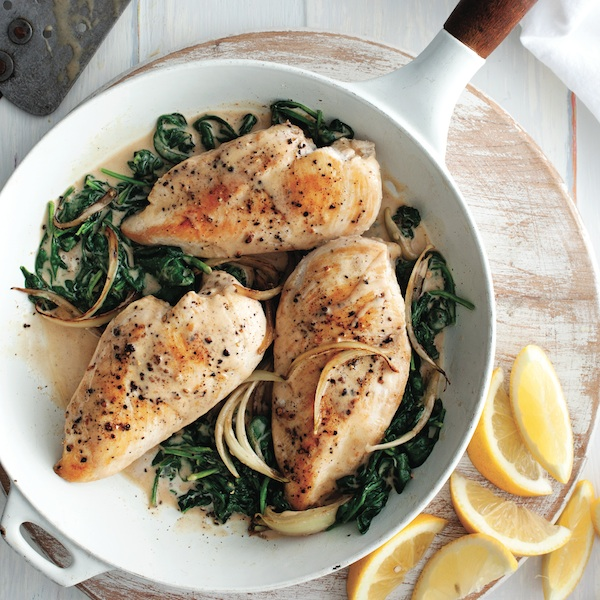The best ways to cook chicken: Lemon-garlic chicken with spinach