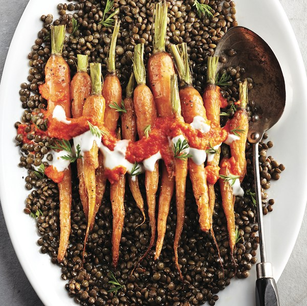 Lentil recipes: Puy lentils with roasted carrots and harissa