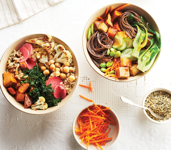 Healthy grain bowl to bring lunch costs down. Food styling, Miranda Keyes. Prop styling, Rayna Schwartz.
