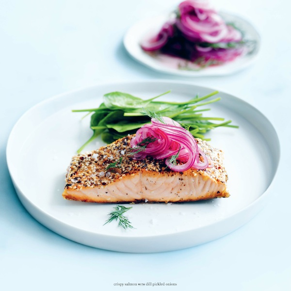 Donna Hay's crispy salmon with dill pickled onions