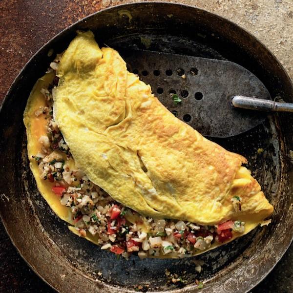 Madhur Jaffrey's spicy cauliflower omelette