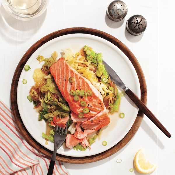Pan-fried salmon with braised savoy cabbage