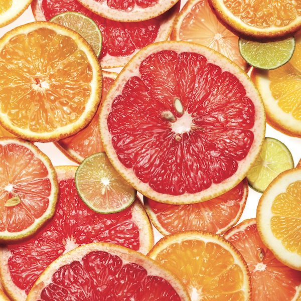 Sliced grapefruit, lemons, oranges and limes