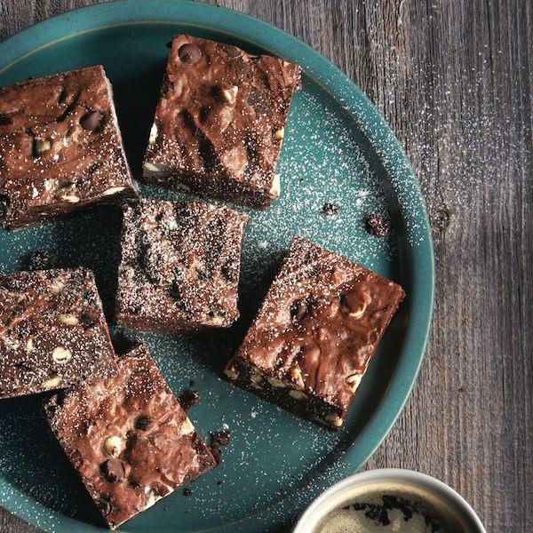 Triple-chocolate brownies.