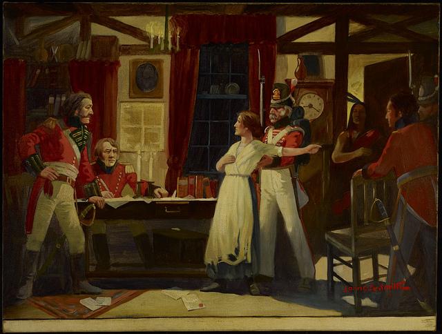 Meeting between Laura Secord and Lieutenant Fitzgibbon, June 1813