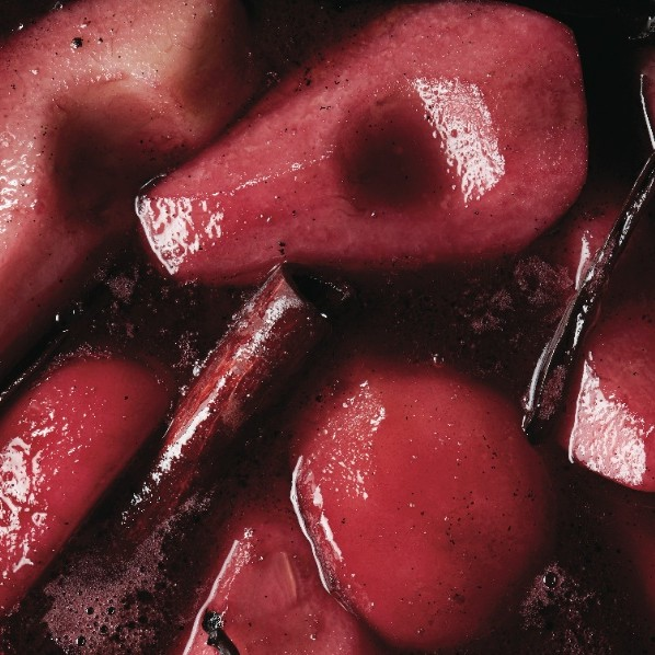 Vanilla and red wine braised pears