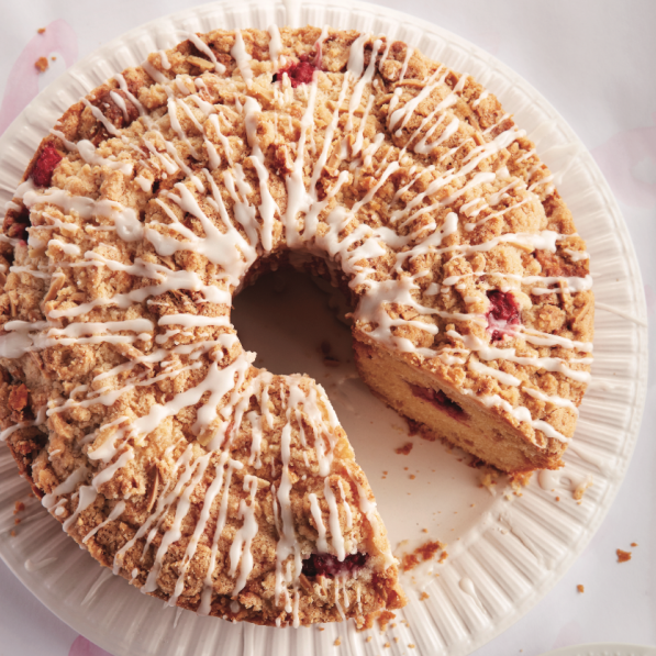 Raspberry and streusel coffee cake