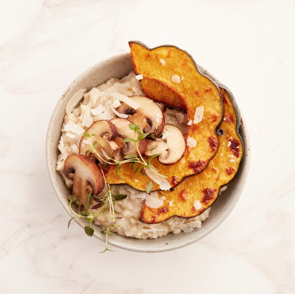 Parmesan oatmeal with mushrooms and roasted squash