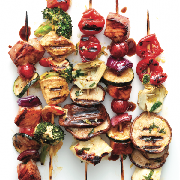 Balsamic salmon kebabs stacked together - Best kebabs for grilling this summer