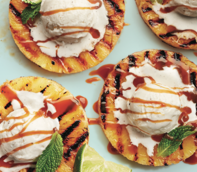 Grilled Pineapple With Vanilla Ice Cream, Caramel and Mint