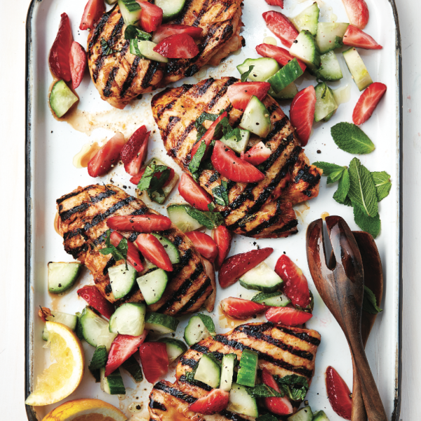 Best ways to grill chicken: Spicy grilled chicken with strawberry-cucumber salad
