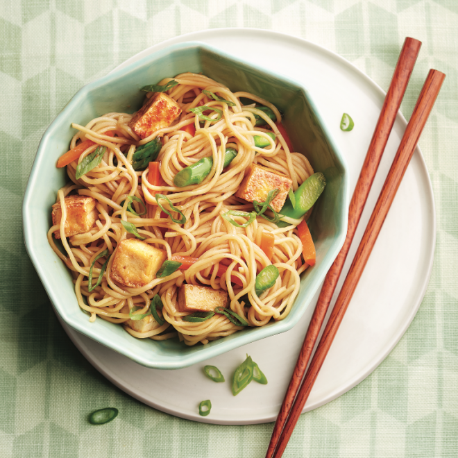 Honey-ginger tofu and vegetable stir fry