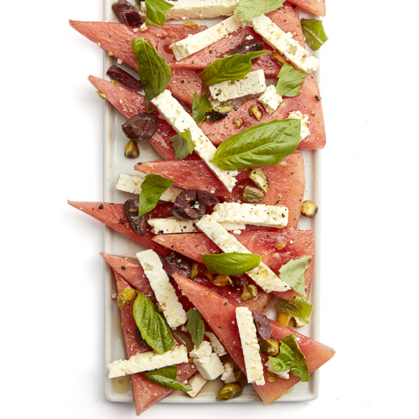 Watermelon, feta and pistachio salad