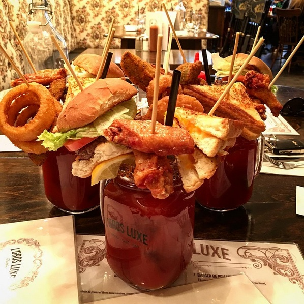 10. The grilled cheese, hot wing, burger and onion ring caesar