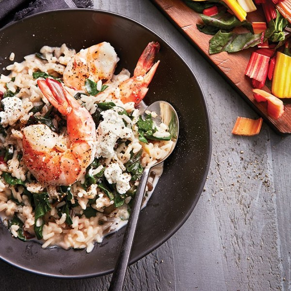Risotto, with swiss chard and garlic shrimp