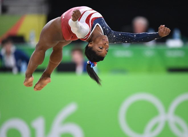 U.S. gymnast Simone Biles competes in the floor exercise on Tuesday, August 9, 2016, at the Rio Olympic Games in Rio De Janeiro, Brazil. The U.S. women's squad captured the gold medal in the team competition. Photo by Mark Reis/Colorado Springs Gazette/TNS/ABACAPRESS.COM