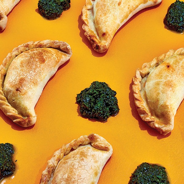 Easy chimichurri sauce and empanadas, made with homemade empanada dough