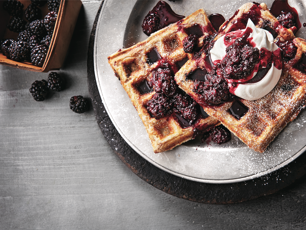 Blackberry waffles on plate