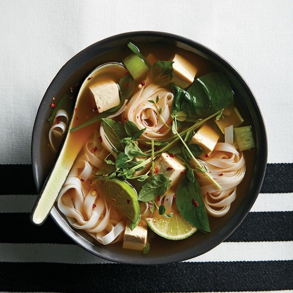 Gingery tofu and rice noodle soup