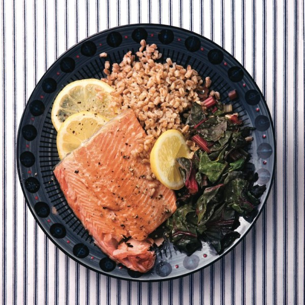 Roasted trout with farro and swiss chard