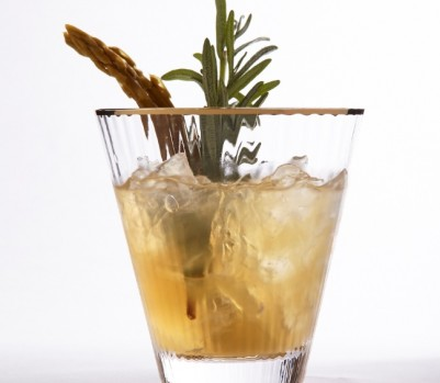 Savoury gin cocktail with rosemary and pickled asparagus