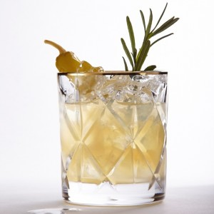Savoury sake cocktail with rosemary and pickled pepper