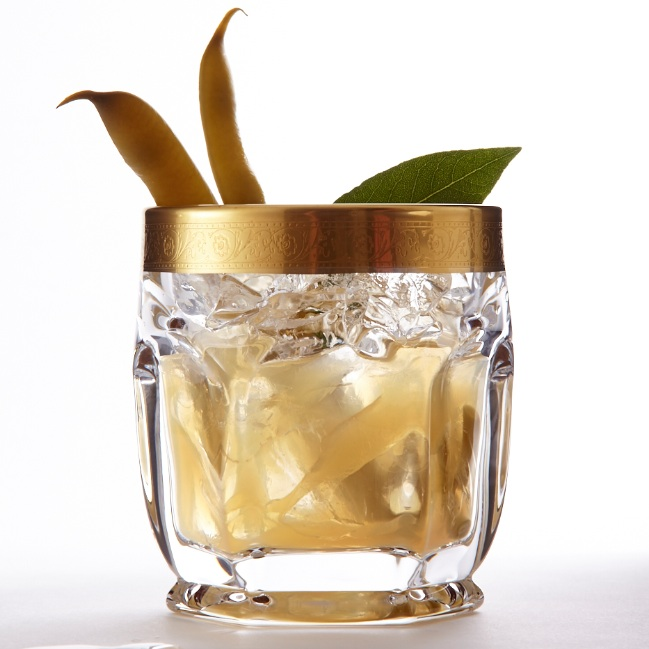 Savoury tequila cocktail with bay leaf and pickled beans