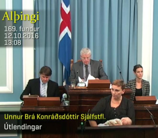Iceland member of Parliament Unnur Brá Konráðsdóttir breast feeding during debate period.