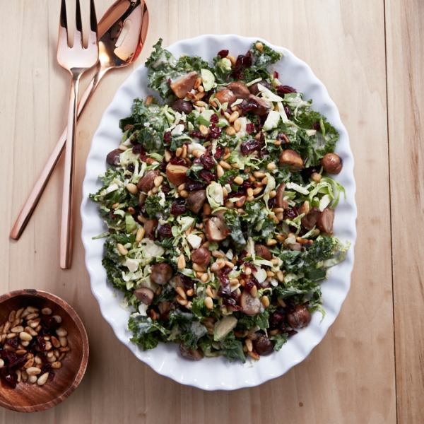 Kale salad with brissels sprouts and cranberries