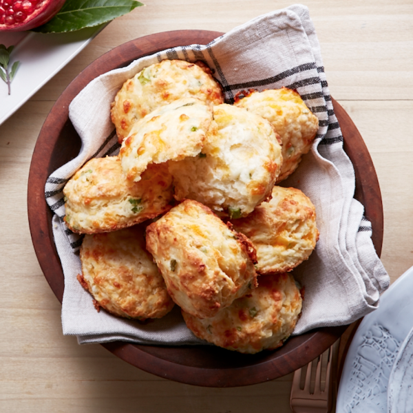 Flaky buttermilk biscuits with cheddar and onion