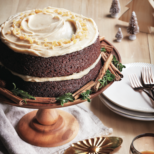 Gingerbread christmas cake with brown butter icing
