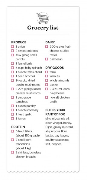 Print Out Our Grocery List For Your Weekend Trip And Dinners All Taken Care Of