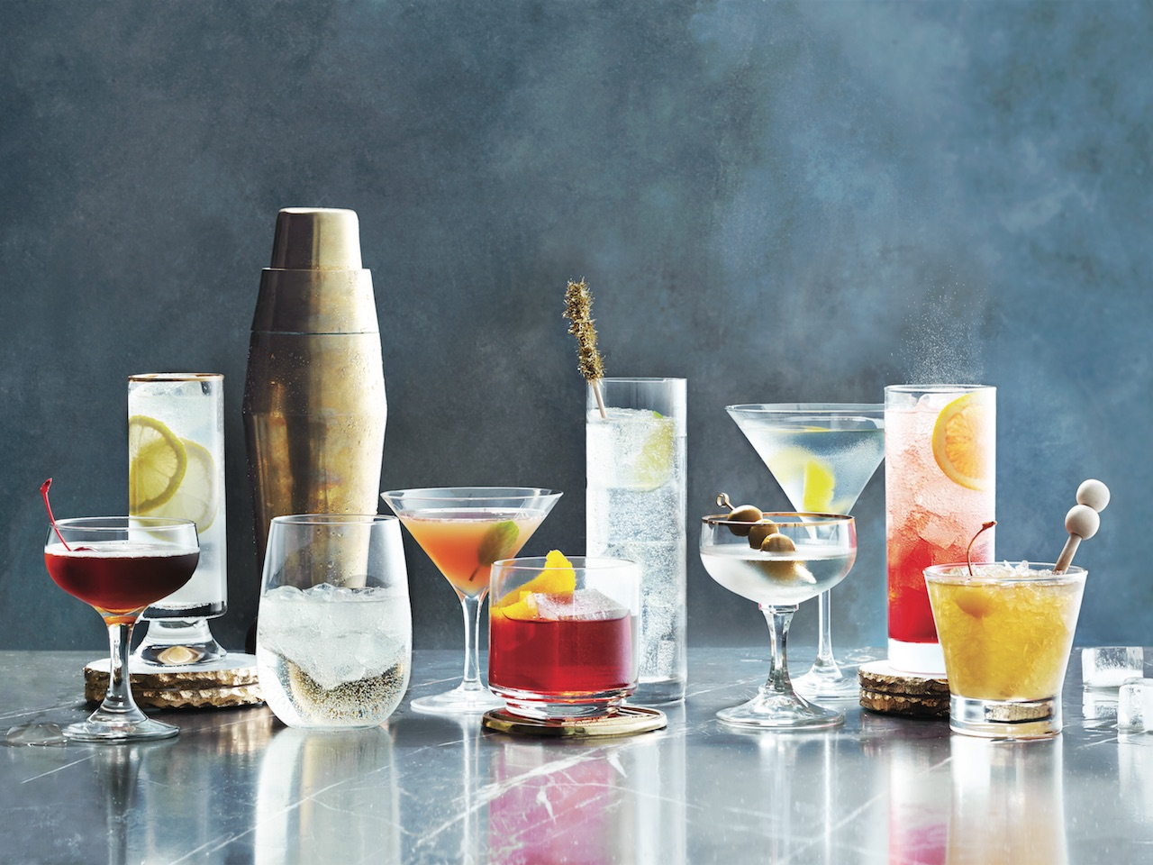 Assortment of cocktails on a grey marble counter